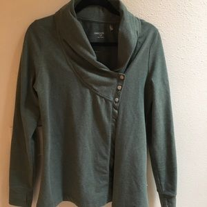 Three button dark green Danskin cardigan